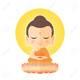 104487632 buddha sitting on lotus cute buddha cartoon vector illustration isolated on white background