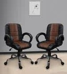 Pepperfry :  (Buy 1 and get 1 Free ) Blaze Executive Chair in Black & Tan Leatherette by Emperor 30%OFF