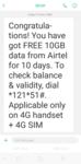 Airtel 10 GB free data for 10 days back again