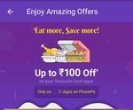 Get 50% cash back upto Rs 100 on food order in PhonePe app