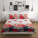 Valentine Red Floral Double Bedsheet With 2 Pillow Cover - Dalmia BestPrice