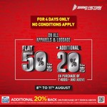 Brandfactory: On all Apparels & Luggage Flat 50% off + 20% off on purchase of min.₹4000 | Aug 8-11