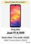 Redmi Note 7 Pro (6GB | 64 GB) - Up to ₹14,500 off on exchange + 10% off by ICICI debit card