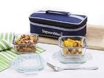 Signoraware Midday Square Glass Lunch Box Set, 320ml/74mm, Set of 2, Clear by Signoraware  @292
