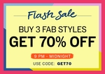NNNOW Flash Sale - Buy it 3 Fab Styles @ 70% off from 9 pm till midnight