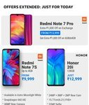 Discount offer on Redmi Note 7 Pro upto 2k exchange offer , Redmi Note 7 S price ,HONOR 20i price extend for Today