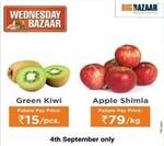 Big Bazaar - Kiwi @ ₹15/pc. & Apple @ ₹79/kg (Only today)