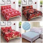 3 Bedsheets and Matress Protector Sheet Combo @ Rs 719 + FREE Shipping + 20% OFF