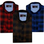 47% Off - Spain Style Pack Of 3 Checkered Casual Slim fit Shirts