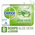 Dettol Soap - 100 g  (Pack of 8, Aloe Vera) @201 125 g (Pack Of 6) @178