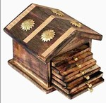Indian Gifts Shoppee Wooden & Brass Antique Hut Shape Coaster Set Home Decor Gift Item