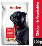 Active Puppy Dry Dog Food, Chicken and Vegetable - 10 kg Pack