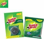 Scotch-Brite 1 Piece Steel and 3 Piece Scrub Pad Regular Super Saver (Green, Pack of 4)