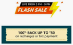 100% cashback on Recharge/Bill payments max 50 selected user 3pm-9pm