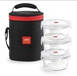 Cello Seal O Fresh Borosilicate Microvable Glass Lunch Box, 400ml, 3-Pieces, Clear