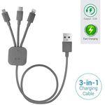 Portronics POR-013 Konnect-Trio Multi-Functional Cable (Grey)