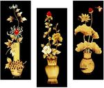 SAF 'Flower' Framed Painting (Synthetic, 36 cm x 45 cm x 3 cm, Multi Colour, Set of 3)