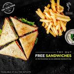 free sandwiches in aromas cafe