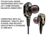 1 PLUS Dual23 in-ear wired headphone. Get 3 month gaana plus subscription worth 199 for free