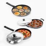 Sumeet Nonstick Three Star Combo Set (Multi Snack Maker - 7 Pcs+ Pizza Pan + Grill Appam Patra 12 Pcs)