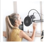 Maono AU-B00 Pop Filter for Studio Condenser Microphone with Wind Screen and Metal Gooseneck Holder (Black)