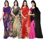 Printed Fashion Georgette Saree  (Pack of 4, Multicolor)