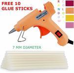 20 Watt 7MM Hot Melt Glue Gun with ON Off Switch and LED Indicator (Free 10 Transparent Glue Sticks)