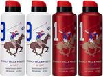 Beverly Hills Polo Club Two No. 9 and Two No. 1 Deodorant Spray - For Men  (700 ml, Pack of 4)