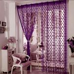 Pindia Decorative Heart Polyester Blend Curtain Room Door Curtain (Dark Purple, 6 Ft)