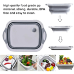 3-in-1 Collapsible Chopping Board, Strainer And Storage Basket For Kitchen