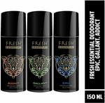 Fresh Essential Perfume Body Spray, 150 ml/100g(Pack of 3)