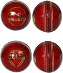Millets Club Red Alum Sun Tanned 4 PCS (Pack of 1 Ball) Cricket Leather Ball