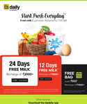 BBDaily :- Get 12/24 Days Milk Free on Wallet Recharge of 1000₹ / 2000₹