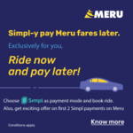 Get 50% Cashback upto Rs 75 for your first 2 Simpl payments on Meru