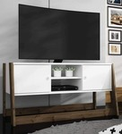 Oda TV Unit with Doors in White & Dark Oak Finish