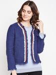 Taanz Women Navy Blue Self Design Open Front Sweater