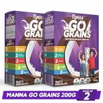Manna Go Grains - Multigrain Instant Drink Mix - 200g Pack of 2 (400Gm) (Chocolate Flavour)
