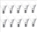 Gleam 9 W Round B22 LED Bulb pack of 10