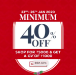 Minimum 40% off  on Biba Clothings (Shop for Rs.5000 & Get A GV of Rs.1000) (23rd - 26th Jan)