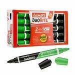 Luxor Duorite 2-in-1 Bullet Tip Whiteboard Marker - Black & Green - Pack of 10
