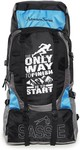 Sassie Adventure Series 55 LTR Black & Blue Rucksack for Trekking, Hiking with Shoe Compartment