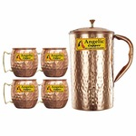 50% Off On Copper Handmade Jug with Cup Set, Set of 4 at Rs.810