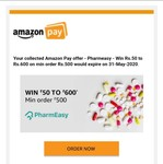 (Pharmeasy) Win Rs.50 to Rs.600 on min order Rs.500