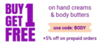 Plum goodness- Buy 1 Get 1 Free On Hand Cream And Body Butter + 5% Instant Discount on prepaid Payment