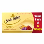 Santoor Gold Soap with Saffron, Sandal & Sakura Extracts, 125g (Pack of 6)