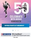 Adidas Festive sale: Flat 50% Off On Footwear & Accessories +10% Cashback through HDFC Cards (16- 21)