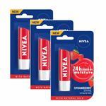 Nivea Strawberry Fruit Shine Lip Care, 4g (Pack of 3)