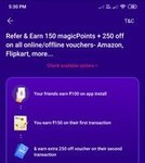 Magicpin - refer and earn(150 magic points+ flat 250 off Amazon, flipkart, etc.