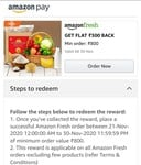 Amazon Fresh 300 off on 800 (User Specific)