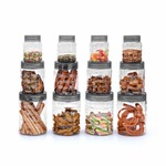 Cello Checkers Plastic PET Canister Set, 12 Pieces, Clear, Capacity - 4-300ml, 4-650ml, 4-1200ml